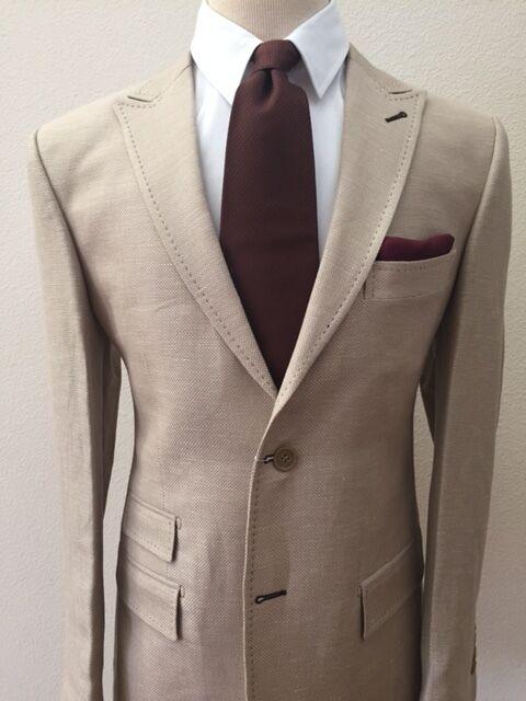 Khaki color super 150 linen and wool Cerrutti wool suit
