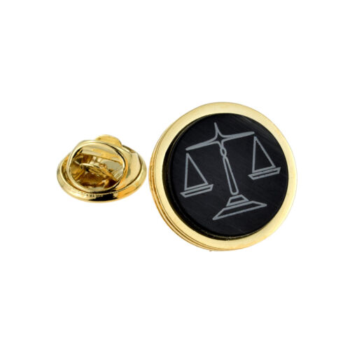 Gold Plated Scales of Justice Design Lapel Pin Badge XNP010