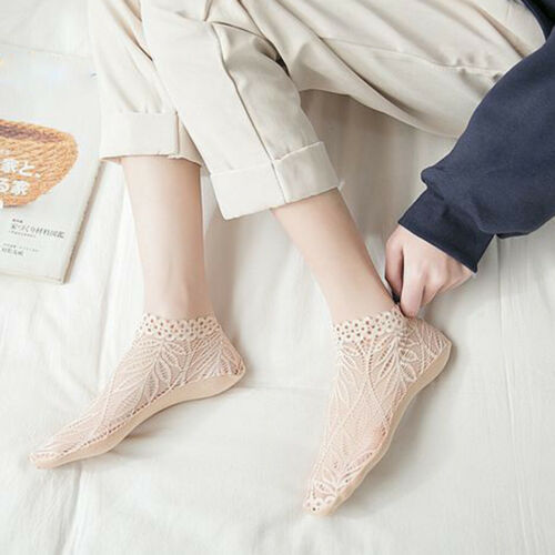 Women Cotton Lace Flower Short Sock Summer Antiskid Invisible Liner Low Cut Sock