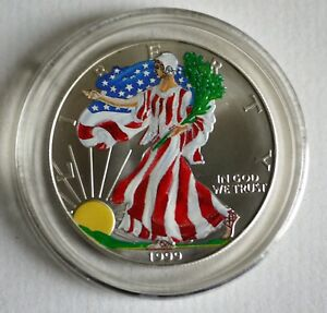 1999 1 Oz Liberty American Silver Eagle Dollar Painted