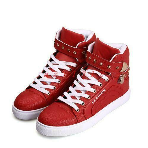Hommes Bout Rond Lacets Sneaker Athletic Shoe Board Haut Top Rivet College Style