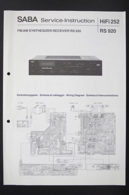 Saba Fm  Am Receiver Rs 920 Service Manual  Diagram  Wiring Diagram O87