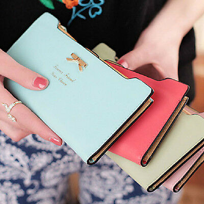 Fashional Women's Soft Leather Bowknot Clutch Wallet Long PU Card Purse Handbag