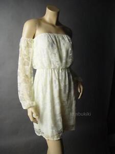 Sale-Ivory-Rose-Lace-Off-The-Shoulder-Romantic-Boho-Peasant-17-mv-Dress-S-M-L