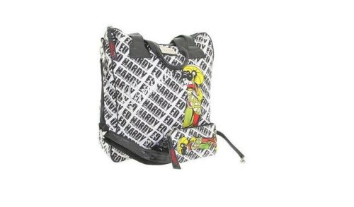 NEW AUTHENTIC ED HARDY MONOGRAM BLACK WHITE BAG TOTE SHOULDER BAG STURDY CANVAS