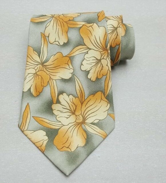 Off Island By Tommy Bahama Green Tropical Floral Men's Silk Handmade Neck Tie