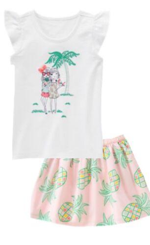 Details about  /Gymboree Island Cruise 5 6 10 Best Friends Pineapple Shirt Skirt Set pink 15