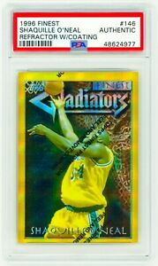 SHAQUILLE-O-039-NEAL-1996-Topps-Finest-146-GOLD-REFRACTOR-w-Coating-PSA-Authentic