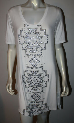 Double D Ranchwear Looking Glass Tunic White Silver Beaded NEW NWOT XL