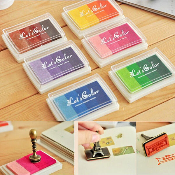 DIY Oil Based Ink Pad Craft For Rubber Stamps Wood Paper Fabric Colors Gradient