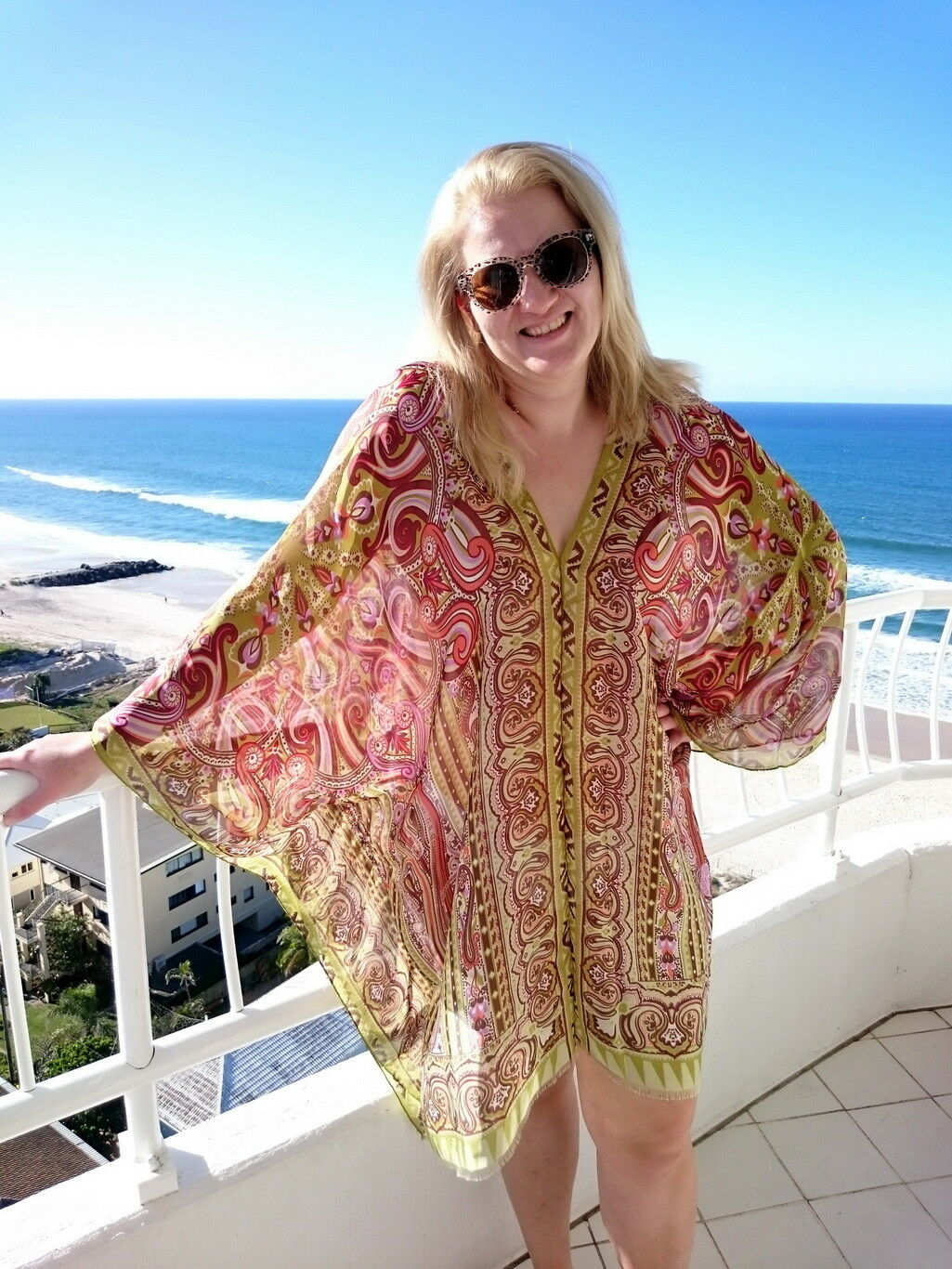Plus Größe Silk Kaftan Top Beach Coverup Paisley Stylish Resort Cruise wear Grün