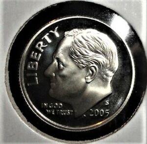 90/% Silver Gem Proof Deep Cameo 2005 S Roosevelt Dime