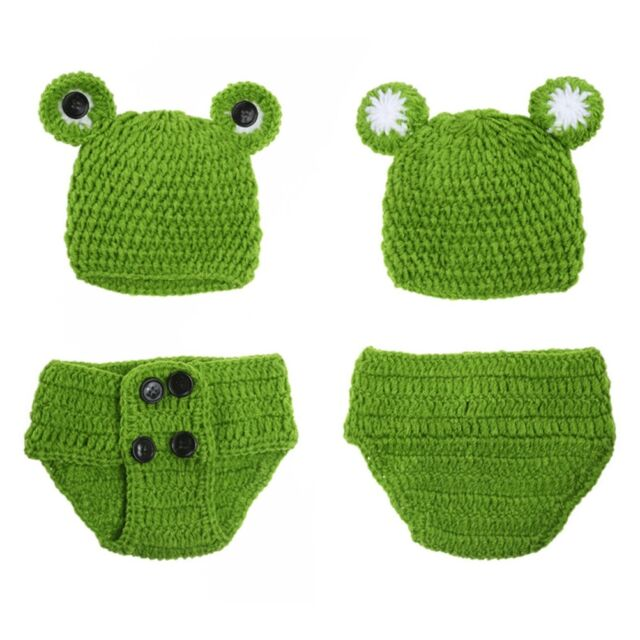 Newborn Baby Girls Crochet Knit Costume Frog Prince Photography Prop Outfits wZ