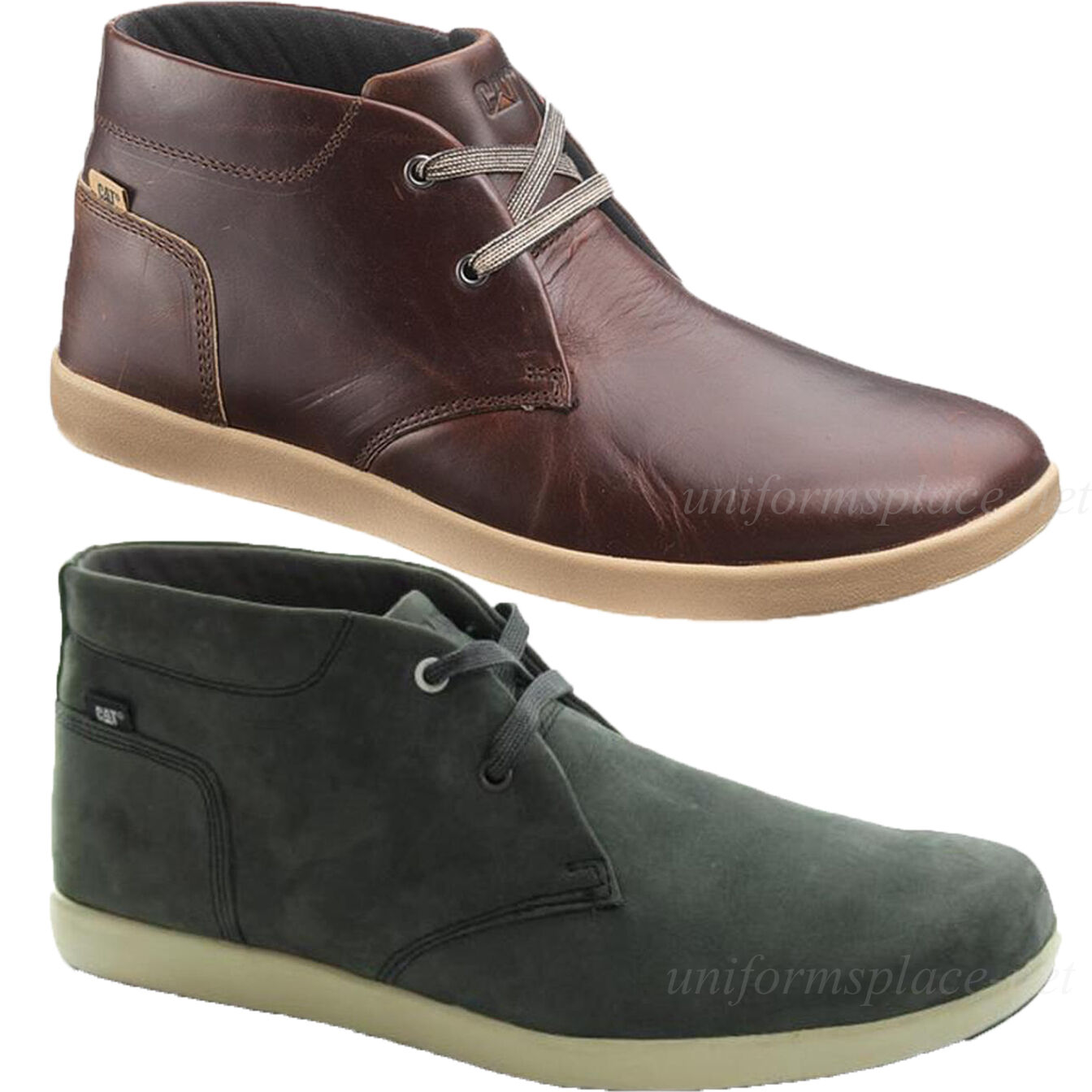 Scarpe casual da uomo  Caterpillar Shoes uomos Beck Mid Leather Work Dress Casual Shoes CAT Gray Oxblood