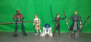 Star-Wars-Clone-Wars-Lot-MAUL-with-Cyborg-Legs-SAVAGE-OPRESS-Obi-Wan-R2D2-Used
