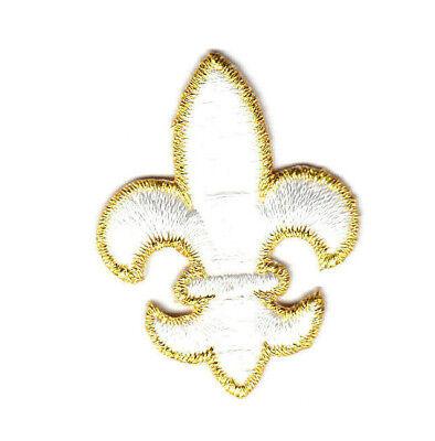 Iron on Metallic Gold Mardi Gras Colors Fleur de Lis Applique Patch