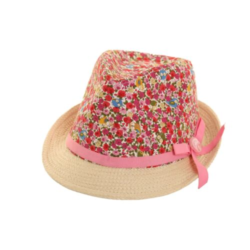 Girls Floral Straw Trilby Hat with ribon band  56cm one size.FREE  fast post