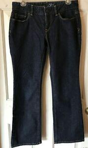 Ann-Taylor-Loft-Curvy-Boot-Dark-Wash-Low-Rise-Wide-Leg-Stretch-Jeans-Women-039-s-6P