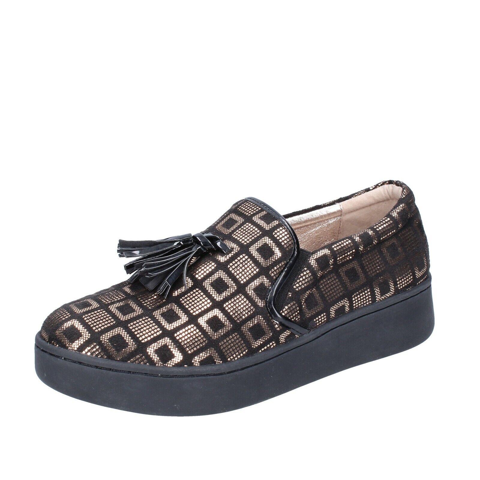 Zapatos señora Uma Parker 36 UE slip on oro negro de gamuza br53-36
