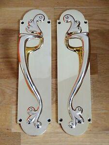 Image Is Loading Br Art Nouveau Door Pull Handles S Plates
