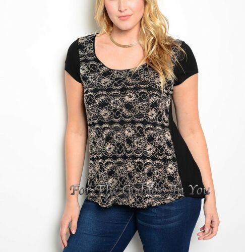 T294 BLACK AND GOLD LACE DEEP CUT SEE THRU BACK JUNIOR PLUS SIZE 1X 2X 3X