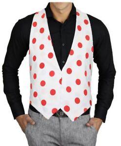 Adults-White-amp-Red-PolkaDot-Red-Spot-Backless-Fancy-Dress-Waistcoat