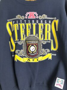 new product c0101 baa93 Details about Vintage Pittsburgh Steelers Sweatshirt XL Black & Yellow  Steel Curtain NFL