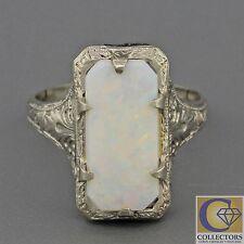 1930s Antique Art Deco 14k Solid White Gold Rectangular Light White Opal Ring