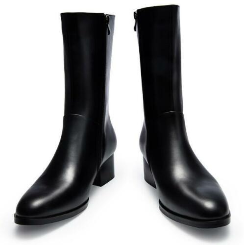 New Mens genuine leather Mid Calf Ankle Boots Side Zipper Winter Fur Lined Shoes