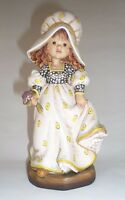 ANRI ITALY VINTAGE CARVED WOOD FIGURINE GIRL WITH FLOWERS WOODEN HAND PAINTED