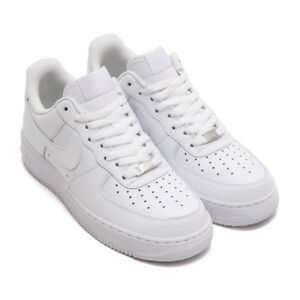 Nike Air Force 1 One 07  All White Mens Low Leather Shoes AF1 315122 ... f3b0592fd
