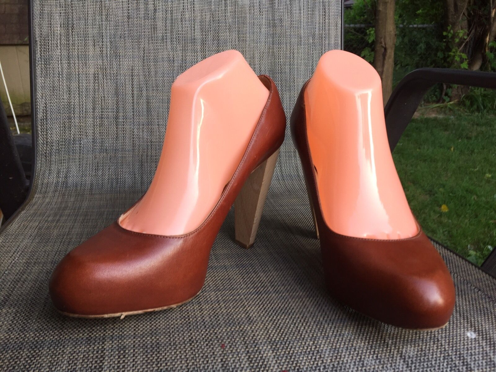 Loeffler Randall Madera Cuero Marrón Plataforma De  Tacón Alto zapatos  De De Salón talla.10B 544c22