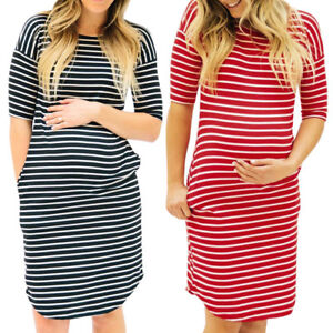 Women-Casual-Pregnant-Striped-Half-Sleeve-Nursing-Maternity-Dress-Party-Clubwear
