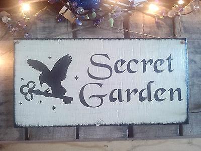 """Primitive wooden sign  """"  Secret Garden""""Bird/key ~ wood outdoor sign"""