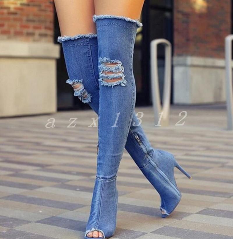 Lo último último último Para mujeres puntera abierta sobre la rodilla alta botas Denim Zapatos Taco Alto Tacones De Aguja Sandalias  A la venta con descuento del 70%.