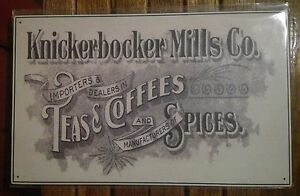 METAL ADVERTISING SIGN Details about  /KNICKERBOCKER MILLS CO TIN TEAS//COFFEES//SPICES
