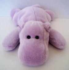 "TY HAPPY HIPPO Beanie BUDDY Plush 2000 Purple 14"" End To End BUDDIES Lavender"
