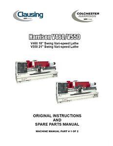 "Harrison V460 V550 Lathe Operations Manual & Parts List 18/21""swing Center Pdf Hot Sale 50-70% OFF Lathe Metalworking Manuals, Books & Plans"