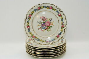 8 Czechoslovakia Floral Dinner Plate Plates 11 Inch STUNNING!!!