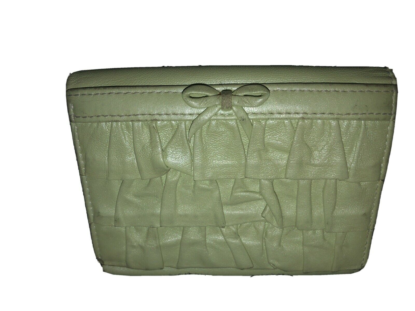 LOVCAT Lime Green Trifold Leather Wallet-Ruffles-6 Slots-ID-Heart Change Clasp