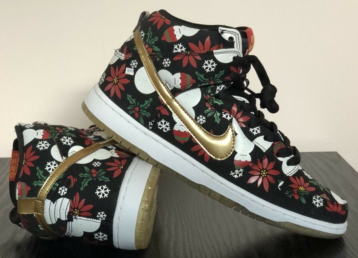 Nike CONCEPTS DUNK HIGH PREMIUM UGLY CHRISTMAS SWEATER Size 9 BLACK 635525-006