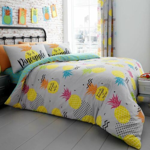 SINGLE /& DOUBLE PINEAPPLE REVERSIBLE DUVET COVER SET KIDS ADULTS BEDDING