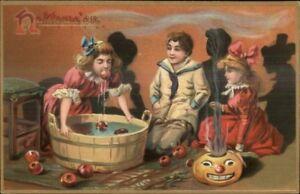 Halloween-TUCK-Children-Bob-For-Apples-c1910-Postcard-EXC-COND