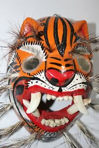 Details About 255 Tigre Mirror Eyes Wooden Mexican Mask Tiger Madera Artesania Chilapa