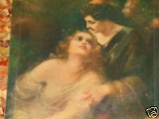 ANTIQUE VICTORIAN ROMANTIC LOVERS PAINTING PORTRAIT PRINT CELLULOID PHOTO ALBUM