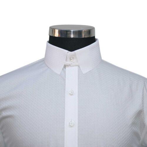 Mens TAB collar James Bond White checks shirt 100/% Cotton Loop collar for Gents