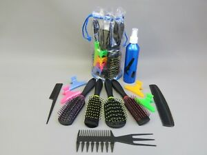 Hair-Brush-Set-Combs-Clips-Colourful-12-Piece-College-Kit-in-Free-Storage-Bag