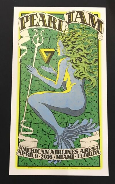 Pearl Jam Miami Event Poster American Airlines Arena Chuck Sperry April 9 2016