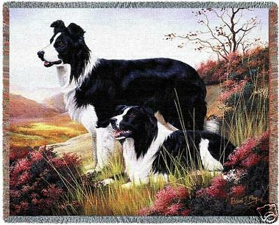 70x53 BORDER COLLIE Dog Tapestry Afghan Throw Blanket