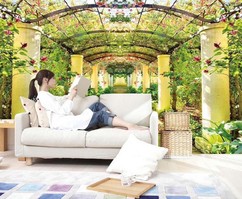 3D Garten Korridor 975 Tapete Wandgemälde Tapete Tapeten Bild Familie DE Summer